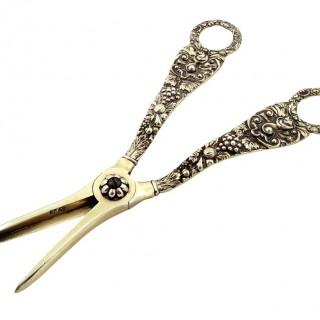 Antique Georgian Sterling Silver Gilt Grape Scissors / Shears 1820