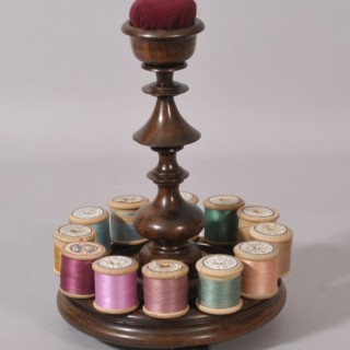 Antique Treen 19th Century Rosewood Pin Cushion and Cotton Reel Stand