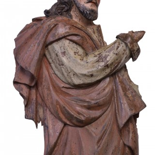 Two polychromed chestnut reliefs of saints