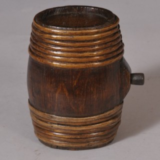Antique Treen 19th Century Staved Oak Whisky Costrel