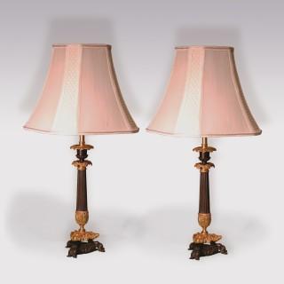 Pair Of Mid 19th Century Bronze & Ormolu Candlestick Lamps