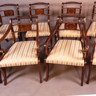 A Set Of 6 Single And Arm Regency Mahogany Dining Chairs