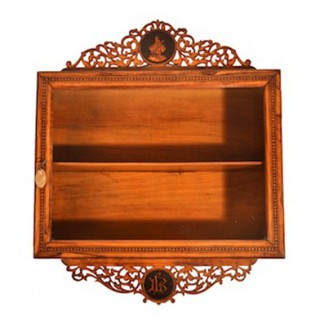 Antique Sorrento Olive Wood Wall Hanging Cabinet c.1880