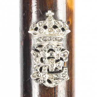 Antique Diamond Set & Gold Mounted Gentleman's Walking Stick 19thC