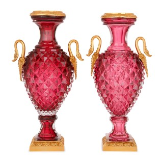 Pair of Russian cut glass and gilt bronze vases