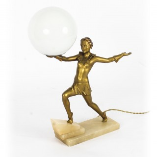 Antique Art Deco Gilded Dancing Lady Lamp c.1920