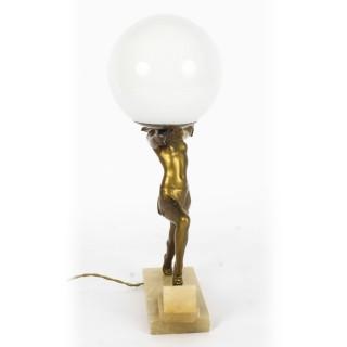 Antique Art Deco Gilded Dancing Lady Lamp c.1920