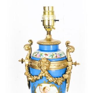 Antique Pair Large French Bleu Celeste Sevres Vases Lamps 19th C