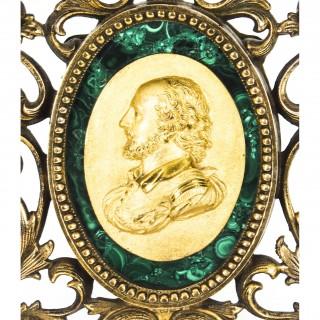 Antique French Framed Ormolu & Malachite Portrait Plaque Francis Drake 19thC