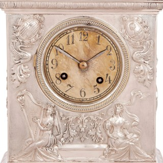 Antique solid silver inscribed mantel clock