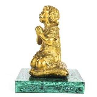 Antique French Malachite & Ormolu Mounted Sculpture of a Girl Preying 19th C