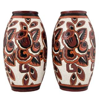 Pair Art Deco ceramic craquelé vases with flowers