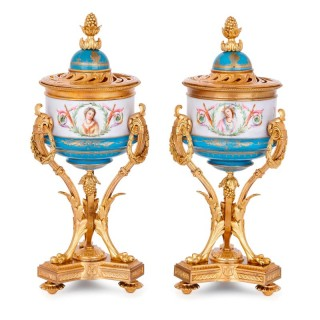 Pair of 19th Century Sevres style gilt bronze and porcelain vases