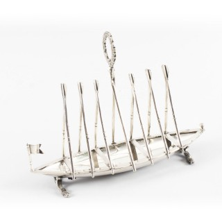 Antique Silver Plated Rowing Boat Toast Letter / Rack 19th Century