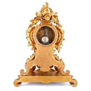 French Rococo style gilt bronze mantel clock