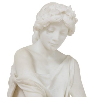 Neoclassical style Italian marble sculpture of seated Sappho