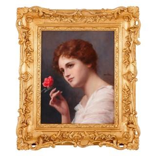 Antique portrait of a lady in oil paint by Seifert