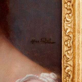Antique portrait of a lady in oil paint by Seifert
