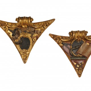 Two carved corner bosses with masonic symbols, Spain, 18th century