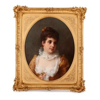 German oil on canvas portrait of a lady by Erdmann