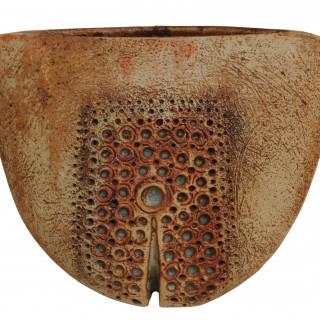 Ceramic U form vase,  Alan Wallwork, British born 1931