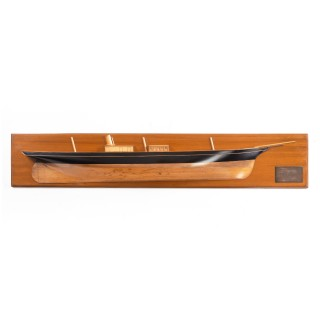 A fruit-wood half hull of the steam yacht 'Cushie Doo' by Henderson's of Glasgow, dated 1881