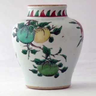 Chinese 17th Century late Ming Transitional Wucai Jar