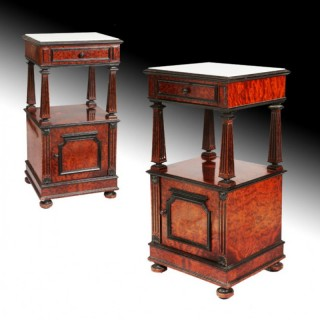 PAIR OF CONTINENTAL BURR BEDSIDE CABINETS