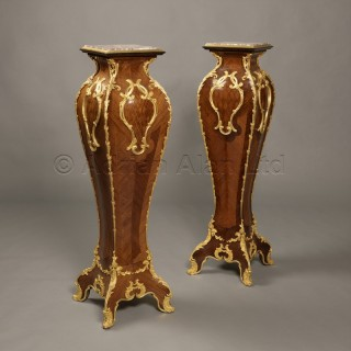 A Pair of Louis XV Style Gilt-Bronze Mounted Parquetry Inlaid Pedestals