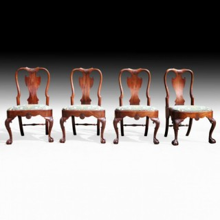 SET OF FOUR GEORGE II MAHOGANY SIDE CHAIRS