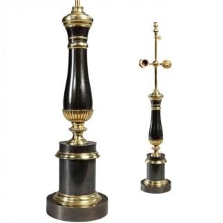COLUMN LAMPS – MID CENTURY – GUNMETAL & BRASS – MAISON CHARLES