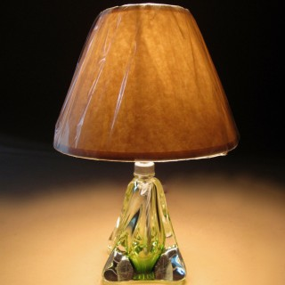 Very Decorative Dimond Engraved Signed Val Saint Lambert Green and Clear Glass Table Lamp