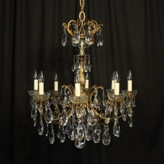 Italian Gilded Bronze 8 Light Antique Chandelier