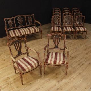 18th Century Painted Wood Italian Louis XVI Living Room Set, 1790