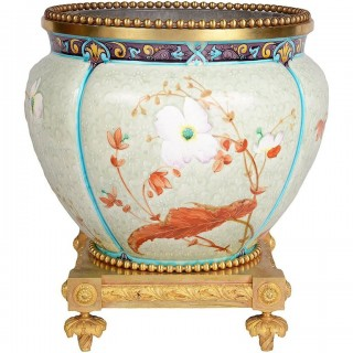 French, 19th Century Enamel Porcelain and Ormolu Jardinière