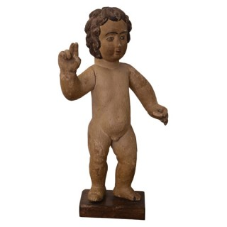 Carved and painted wood sculpture of the Christ Child, Portuguese Colonial