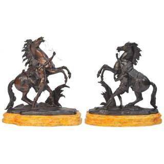 Pair 19th Century Bronze Marley Horses