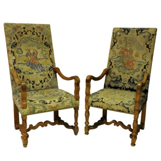 Pair of large fruitwood armchairs with needlework covers