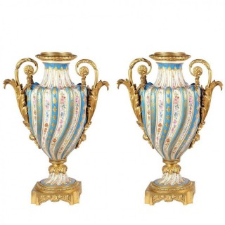 Fine Quality Pair of French Sevres Style Porcelain Vases