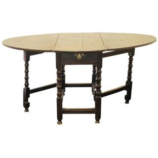 Large oak gateleg table, English late 17th century