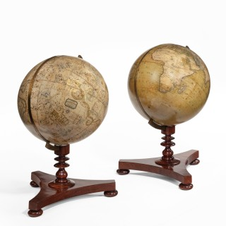 A rare pair of Victorian 8 inch table globes by Newton