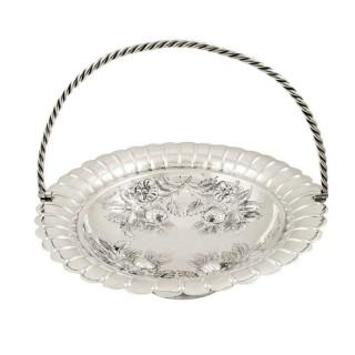 Antique Victorian Sterling Silver Basket 1890