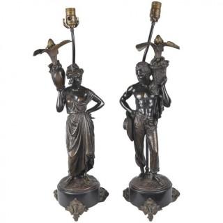 Pair 19th Century Bronze Nubian lamps