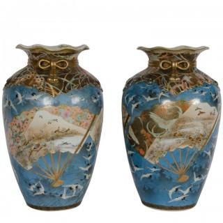 Pair 19th Century Kutani vases