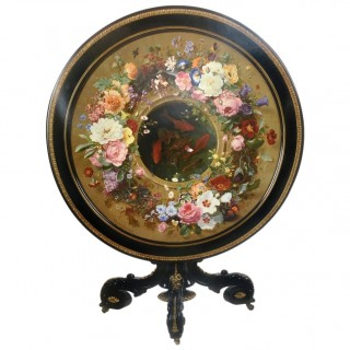 French Napoleon III Polychrome Painted and Ebonized Centre Table