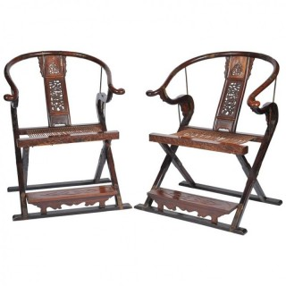 Pair Chinese Horse shoe arm chairs