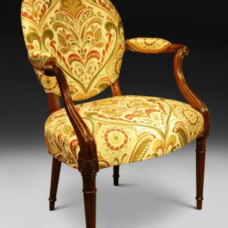 Hepplewhite Period Mahogany Salon Armchair in the French manner