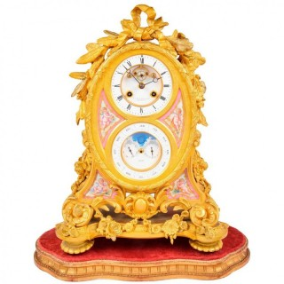 French Ormolu Calendar Mantel Clock, 19th Century