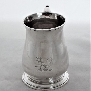 Good crested George II silver mug London 1751 Shaw & Priest