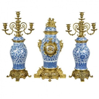 19th Century Chinese Blue and White Clock Garniture